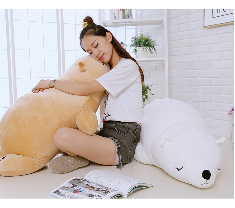 high quality,large 110cm prone polar bear doll very soft bear plush toy,sleeping pillow Christmas gift birthday gift h2958 large 90cm cartoon pink prone pig plush toy very soft doll throw pillow birthday gift b2097