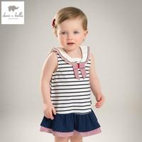 DB4922 Dave Bella Summer Baby Girl Princess Dress Child Preppy Dress Kids Toddle Dress Children Dress