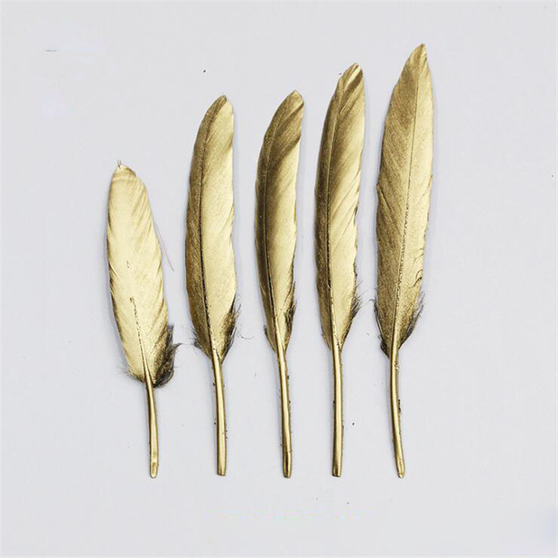 New gold 50 pcs/lot Natural Beautiful gold Goose Feather Decoration 4-6 Inches 10-15 cm Colors for Choosing