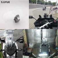 S UYUE Motorcycle Universal Adjustable Risen Clear Windshield Wind Screen Protector For Honda Yamaha Suzuki Kawasaki