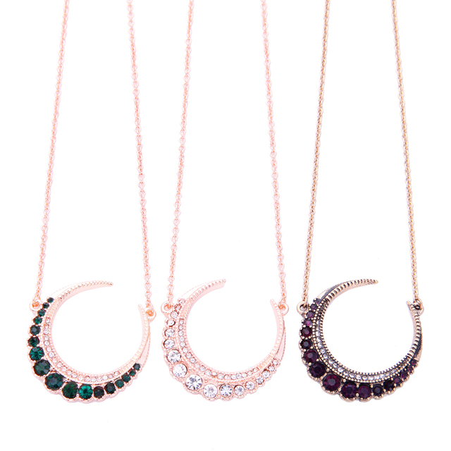 KISS ME Red/Green Clear Crystal Moon Pendant Necklace aliexpress New Fashion Women Trendy Necklace Jewelry Wholesale
