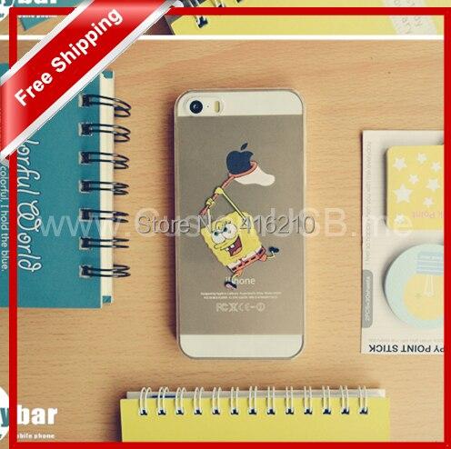 iphone5 5s cases Transparent Spongebob squarepants Grasp LOGO cell phone covers 5 - MOQINO Store store