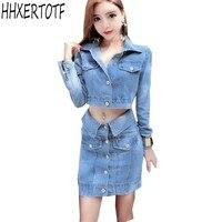 women denim jacket short coats cowboy high waist skirt 2 piece sets denim suits button runway hippie chic suits