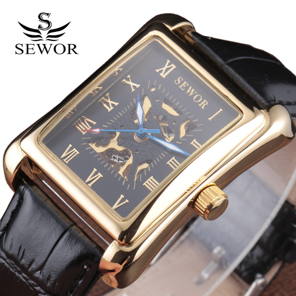 2016 New Fashion Sewor Brand Noble Classic Elegant Skeleton Men Luxury Clock Leather Mechanical Wrist Business Male Sport Watch sewor classic hollow dial clock fast