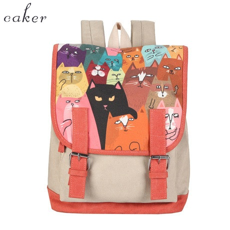 Caker 2017 Fashion Women Backpack High Quality Preppy Style School Bags Black Red Orange Cartoon Cat
