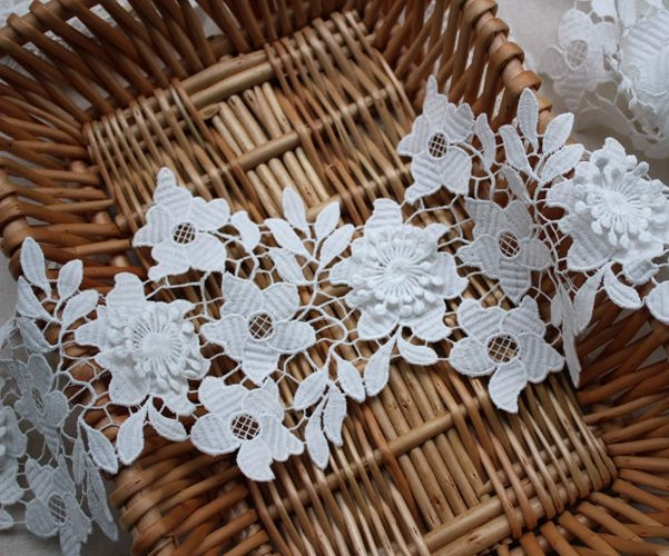 Lọc màu Trắng ren trim nước hòa tan thêu sợi sữa ren DIY ren phụ kiện quần áo vải 14 cm rộng