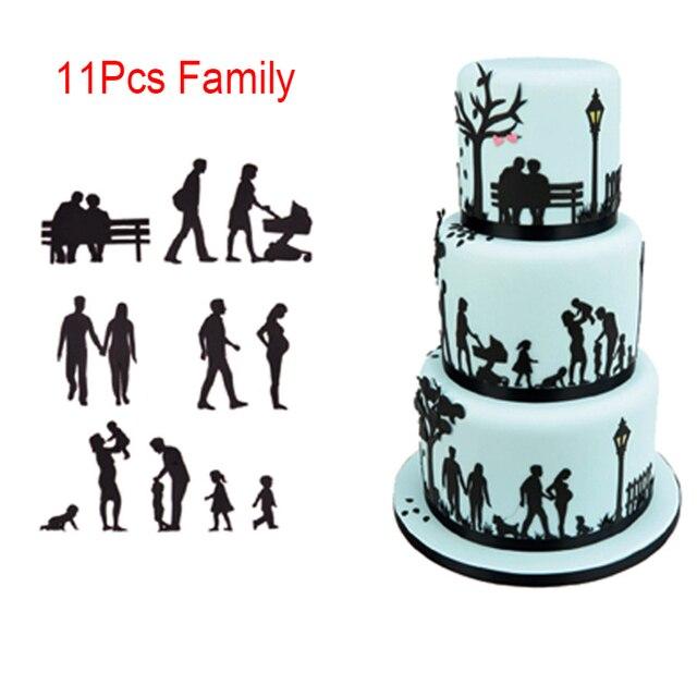 新しいフォンダンケーキデコレーション金型セットプラスチッククッキーカッター菓子ビスケットベーキングツールの結婚式音楽家族動物バルーン