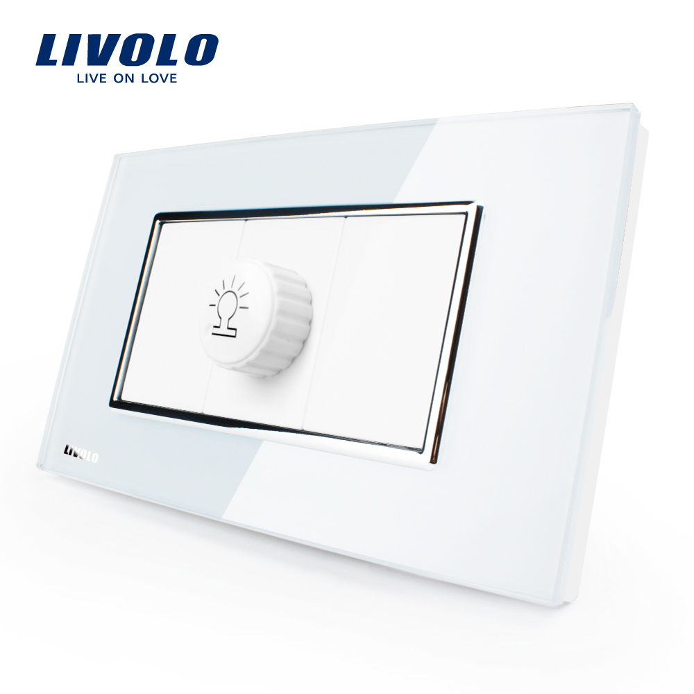 Livolo US/AU Standard Luxury White Pearl Crystal Glass,Dimmer Socket(Dim Up/Down), AC 100~250V, VL-C391G-81. livolo us standard 2 pins socket white crystal glass 10a ac 125 230v wall powerpoints with plug vl c3c3a 81