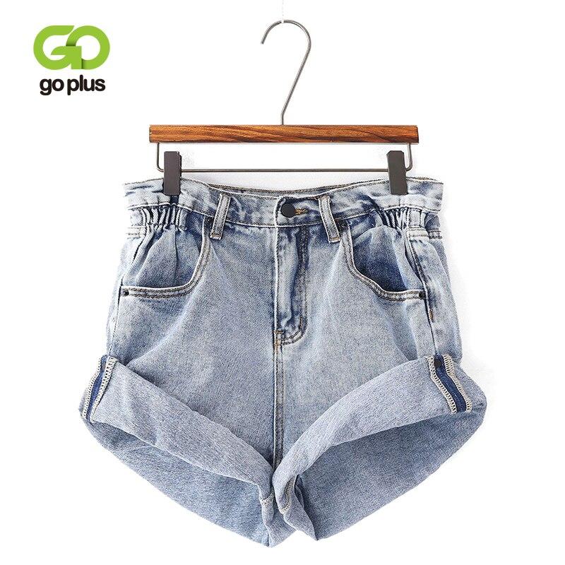GOPLUS Summer Denim   Shorts   Womens Vintage Crimping High Waist Loose Leg Blue   Short   Jeans Women Spodenki Damskie Streetwear C7938