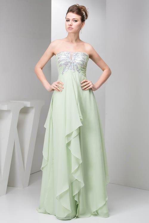 Green Strapless Sequined Long Ruffles V-Neck   Bridesmaid     Dresses   Chiffon Wedding Party   Dresses   Prom Gown Vestidos