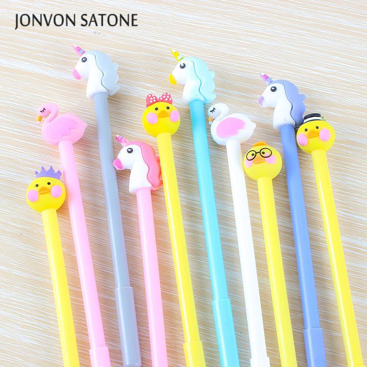 Jonvon Satone 16 Pcs Duck Unicorn Flamingo Gel Stationery Cute Cartoon Animal Neutral Pen Office Stationery Student Supplies Pen все цены
