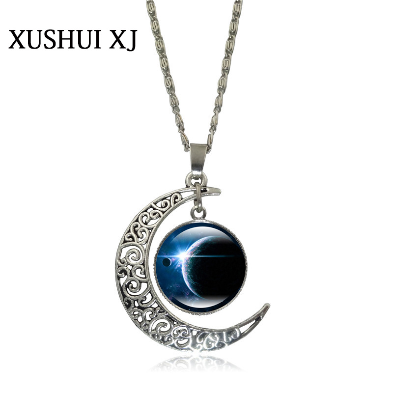 XUSHUI XJ Galaxy Space Glass Cabochon Pendant silver color ...