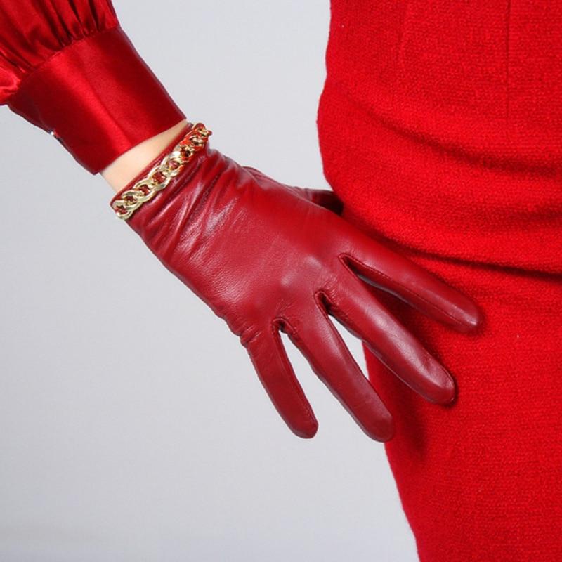 Sheepskin Gloves Women's Leather Red Mid-length Thin Velvet Lining Warm Gloves Gold Chain TB61