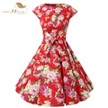 SISHION Casual Women Dress Summer Short Sleeve Tunic Retro Vintage 50s 60s Big Swing Midi Red Floral Dresses Plus Size VD0238