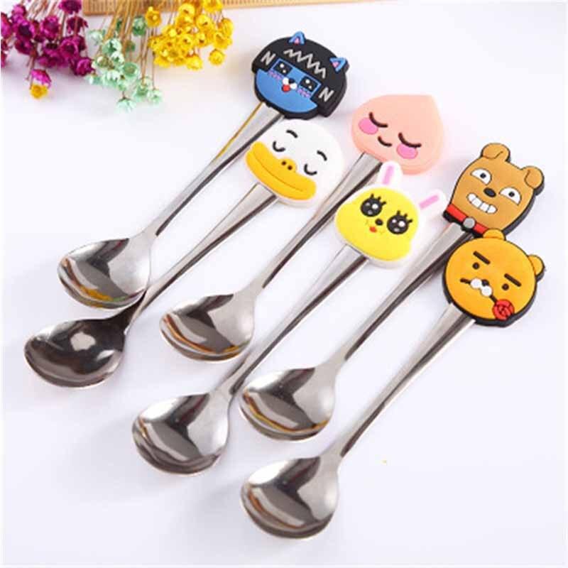 New Cartoon Baby Feeding Tableware Spoon Fork Set Baby Stainless Steel Creative Utensils Kids Baby Coffee Flatware Accessories