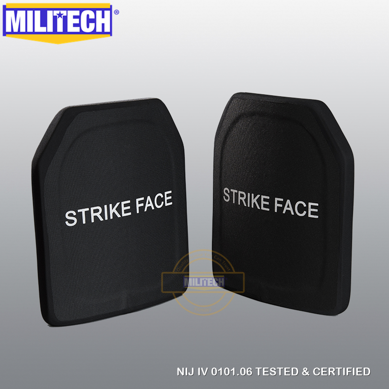 MILITECH Two PCS 10x12 Inches Light Weight Alumina PE NIJ IV Bulletproof Plate Al2o3 NIJ level
