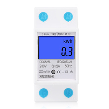 цена на Backlit Household Single Phase Two Wire LCD Digital Display Power Meter Total Energy Meter kWh 230V 50Hz Electric Din Rail Mount