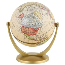 Retro Rotating World Globe Earth Antique Home Office Desktop Decor Geography Educational Learning Map School Supplies