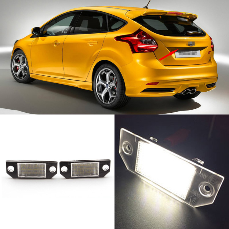 Ownsun 2PCS Superb 18-SMD Error Free LED Rear License Plate Light Lamps For Ford Focus MK2 03-08/C-Max MK1 03-10 2pcs high quality superb error free 5050 smd 360 degrees led backup reverse light bulbs t20 for hyundai i30