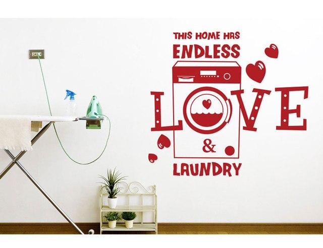 Romantische slogan Dit Huis Heeft Eindeloze Liefde En Wasserij vinyl muur applique afneembare wasruimte decoratie behang XY05