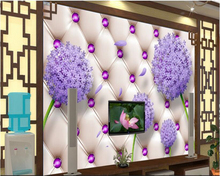beibehang 2017 new papel de parede tapety High quality fashion wallpaper imitation soft bag purple dandelion TV background wall