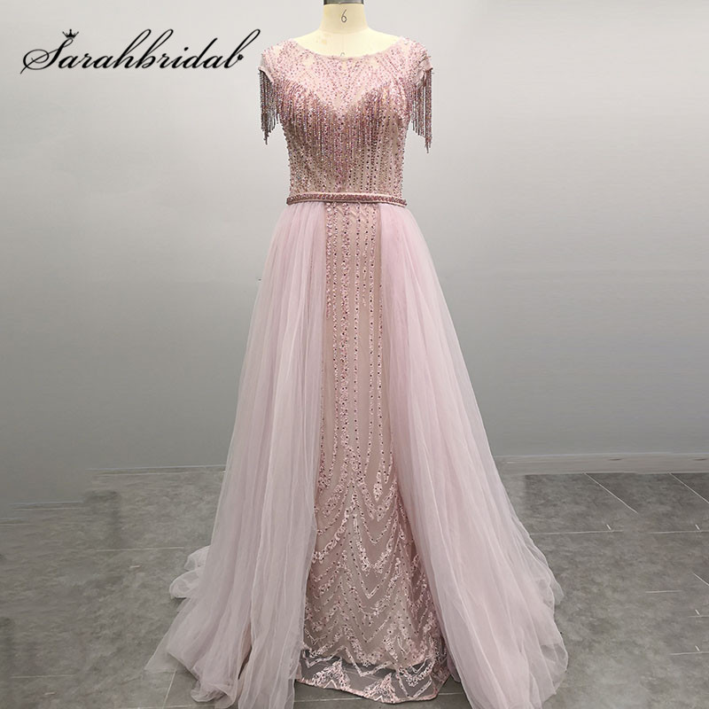 Elegant Women Evening Formal Dress 2019 Long Beading Embroidery Illusion Close Back Beaded Sashes Prom Party Dress CC5490
