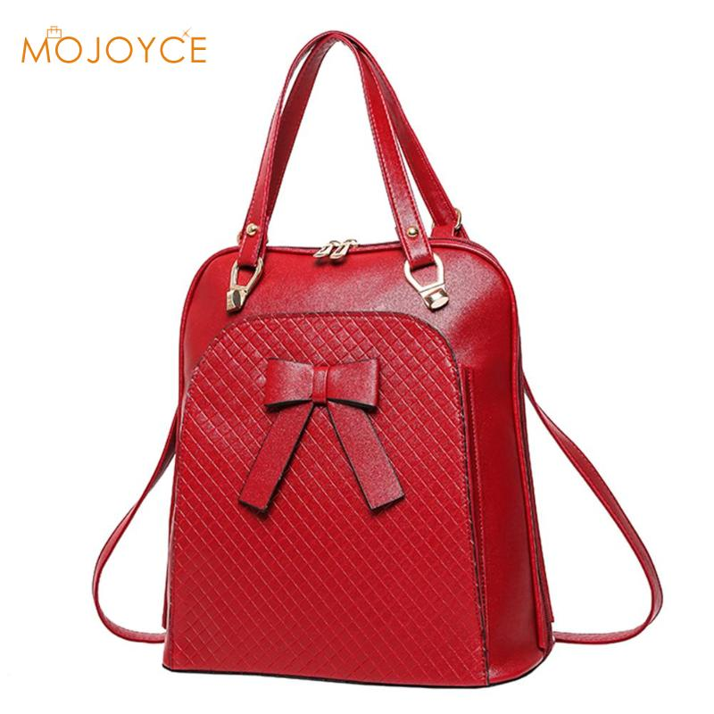Bowknot Backpack Elegant Women Shoulder Hand bag Ladies PU Leather School Bags For Teenagers Girls High Quality Casual Daypack high quality fashion women backpack bag casual ladies pu leather school book shoulder bags solid student bolsa feminina