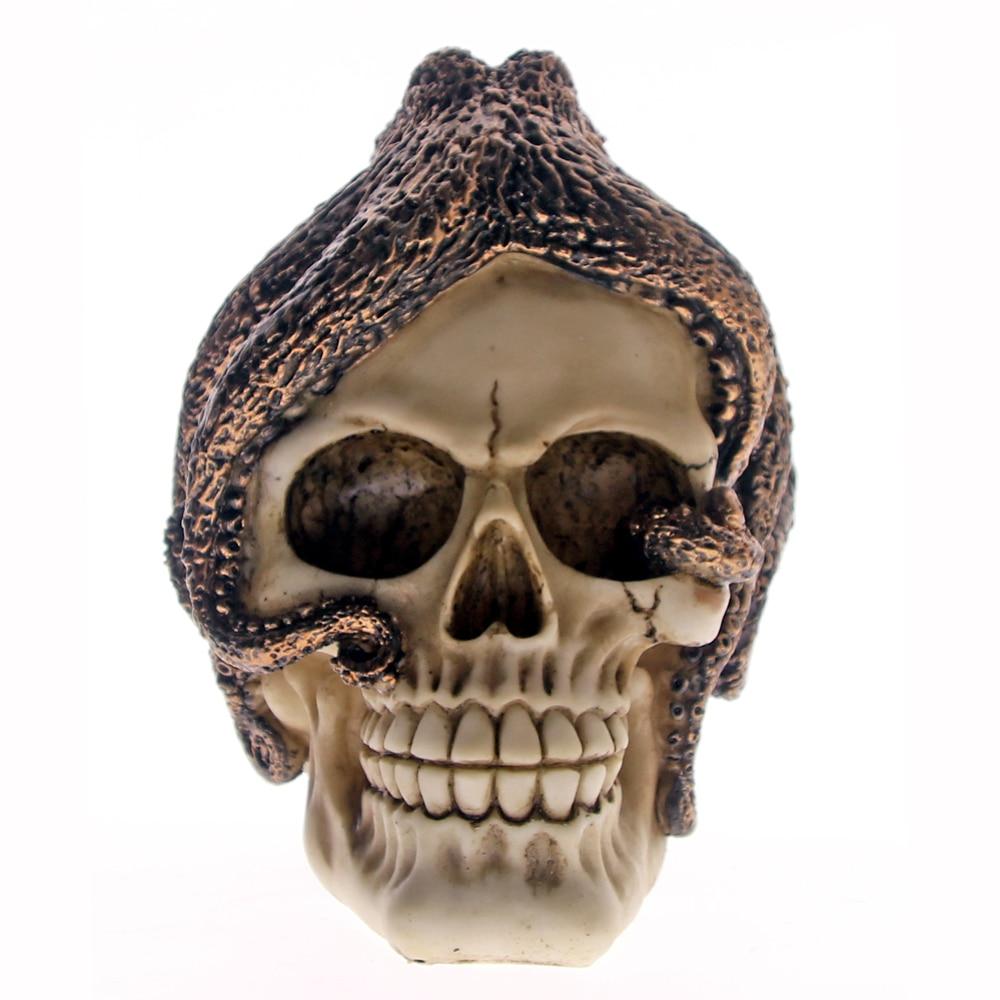 Octopus Pirate Skull Octopus Man Skull Bronze Statue Gothic Halloween Sea Creature Figurine Decor Skeleton Sculpture Steampunk
