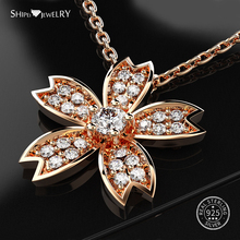 Shipei 100% Sterling Silver White Sapphire Flower Pendant Rose Gold Necklace Chain For Women Fine Jewelry