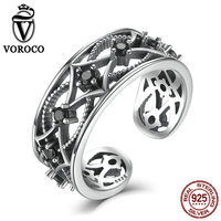 VOROCO Real 100 925 Sterling Silver Chain Pattern Surrounded Band Open Adjustable Ring Free Size Women