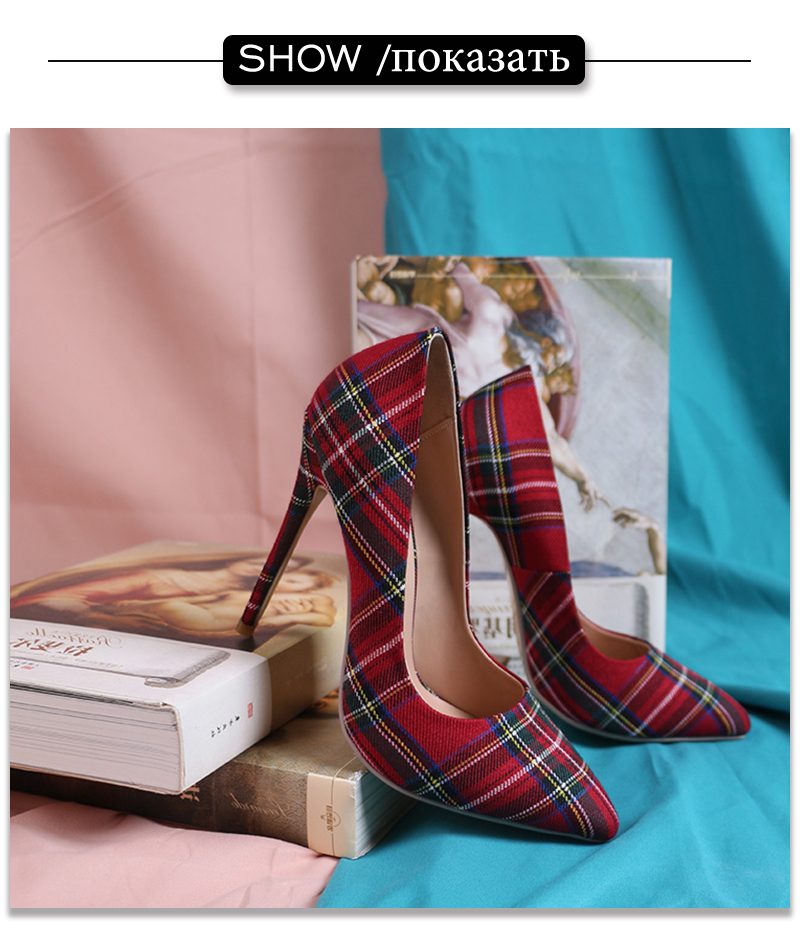 Pumps Heels Red Pointed Plaid Shoes 14