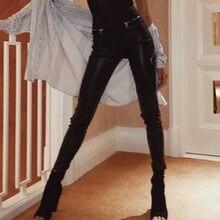5da3b9f54d0f6 Litthing Women Sexy Skinny PU leather Leggings Front Zipper High Waist Push  Up Faux Leather Pants Leggings Dropshipping Female