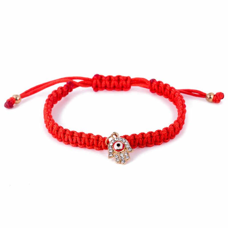 Ювелирные изделия из кристаллов приносящий удачу браслеты, посвященные тематике мира рука Фатимы Шарм красной нитью турецкий Браслеты сплетенный вручную Браслеты 1 шт.
