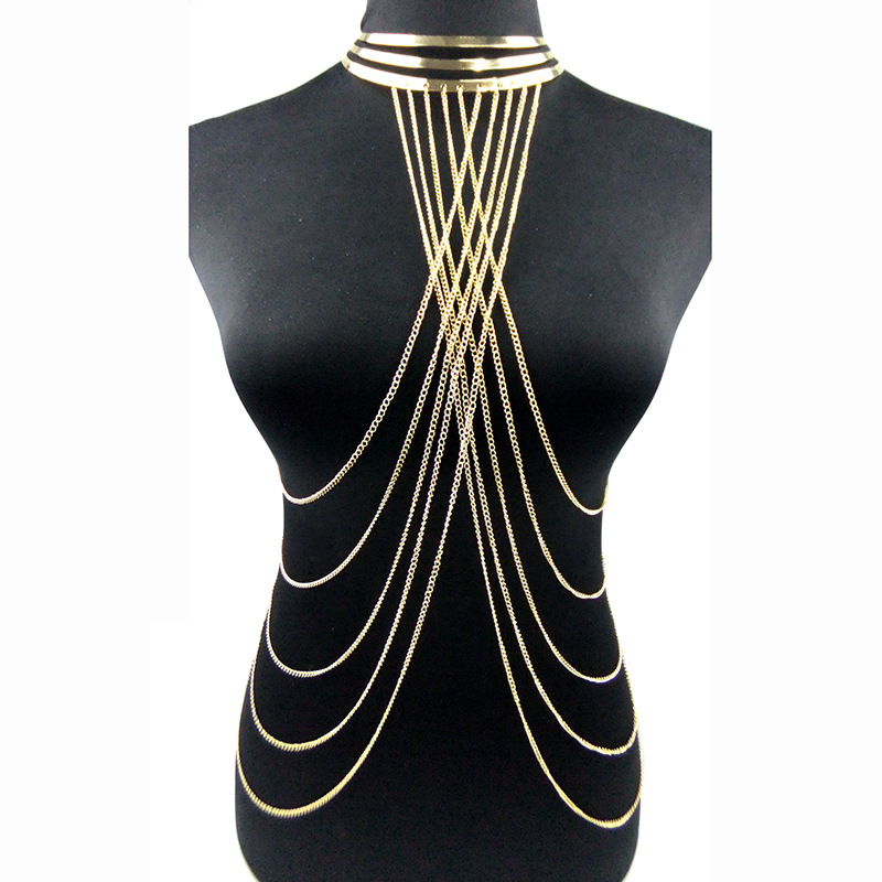 Sexy Multilayer Long Tassel Body Necklace Fashion Punk Golden Bikini Harness Big Torques Necklace Beach Jewelry for Women gorgeous multilayer beads resin cone tassel necklace for women