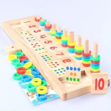 Rainbow Rings Dominos Children Preschool Teaching Aids Counting and Stacking Board Wooden Math Toy