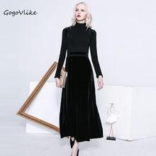 Crochet velvet dress 2017 preto elegante do vintage recorte patchwork uma completa dress cintura alta magro one piece-dress