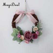 Ραντάν τεχνητό λουλούδι στεφάνι μπροστινό πόρτα στεφάνι γάμος διακόσμηση ανοιχτό ροζ γκάρλαντ πράσινο φύλλωμα αμπέλια φυσικά ξηρά υποκαταστήματα