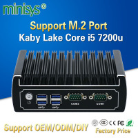 Minisys powerful fanless mini pc skylake core i5 7200u 2 lan thin rdp client terminal game htpc computer windows 10 with DP port