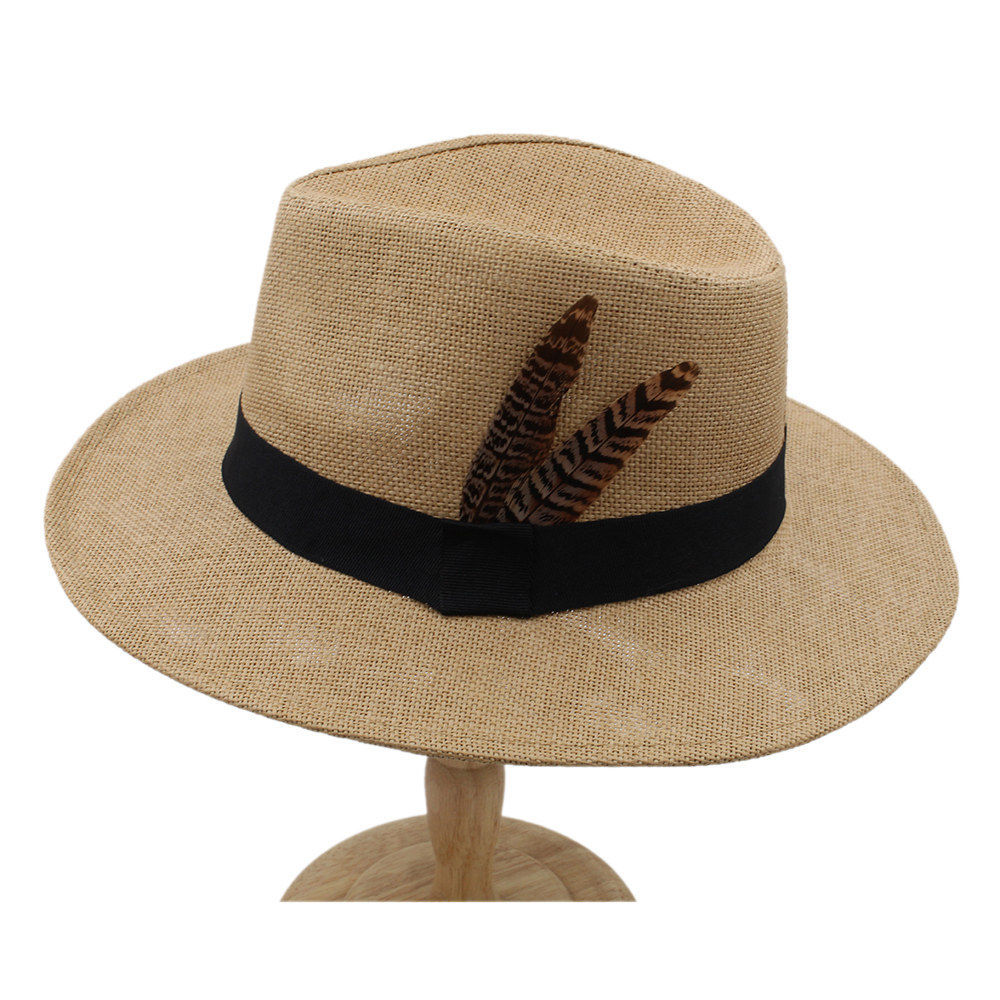 Summer Women Men Straw Panama Hat With Wide Brim Beach Boater Sun Hat With  Fashion Feather Size 56-58CM 01dfa78c250