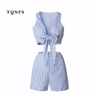 TQNFS Summer Deep V Neck Women S Sets Striped Blue 2 Pieces Set Crop Top And