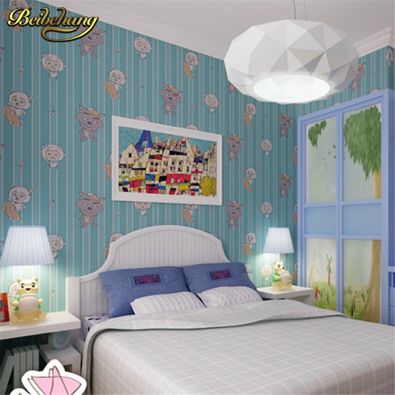 ФОТО beibehang wallpaper Boy children's room blue cartoon environmental non-woven wallpaper pink 3d wall paper girl princess room