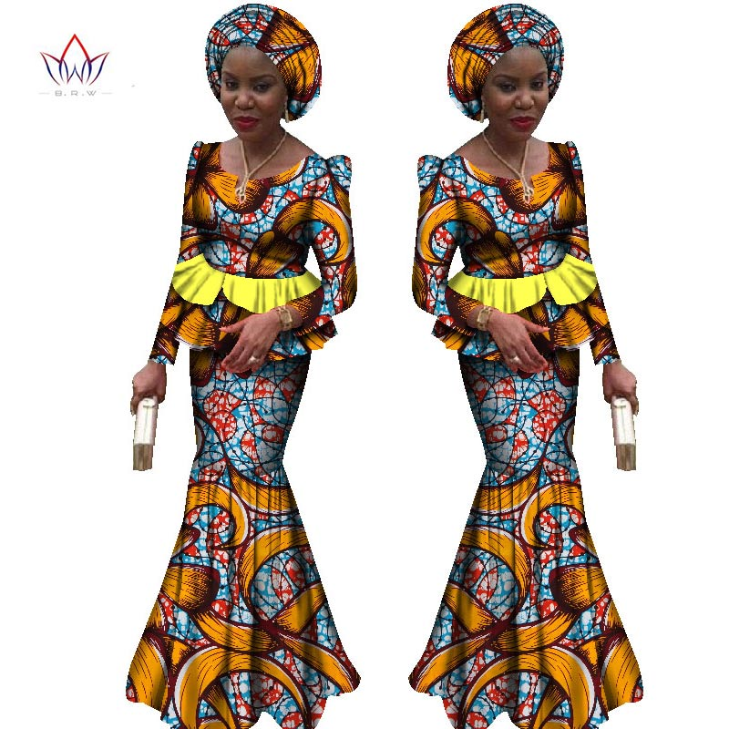 2017 New African Dresses For Women 2 Pieces Suit African