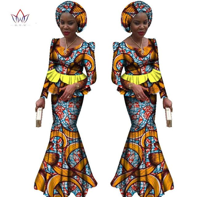2017 New african dresses for women 2 pieces suit african traditional clothing dashiki robe femmes print cotton wax BRW WY1863