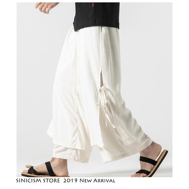Sinicism Store 2020 Men Wide Leg Pants Summer Streewear Cotton Linen Loose Male Hanfu Chinese Style Mens Full Length Pants 3XL 31