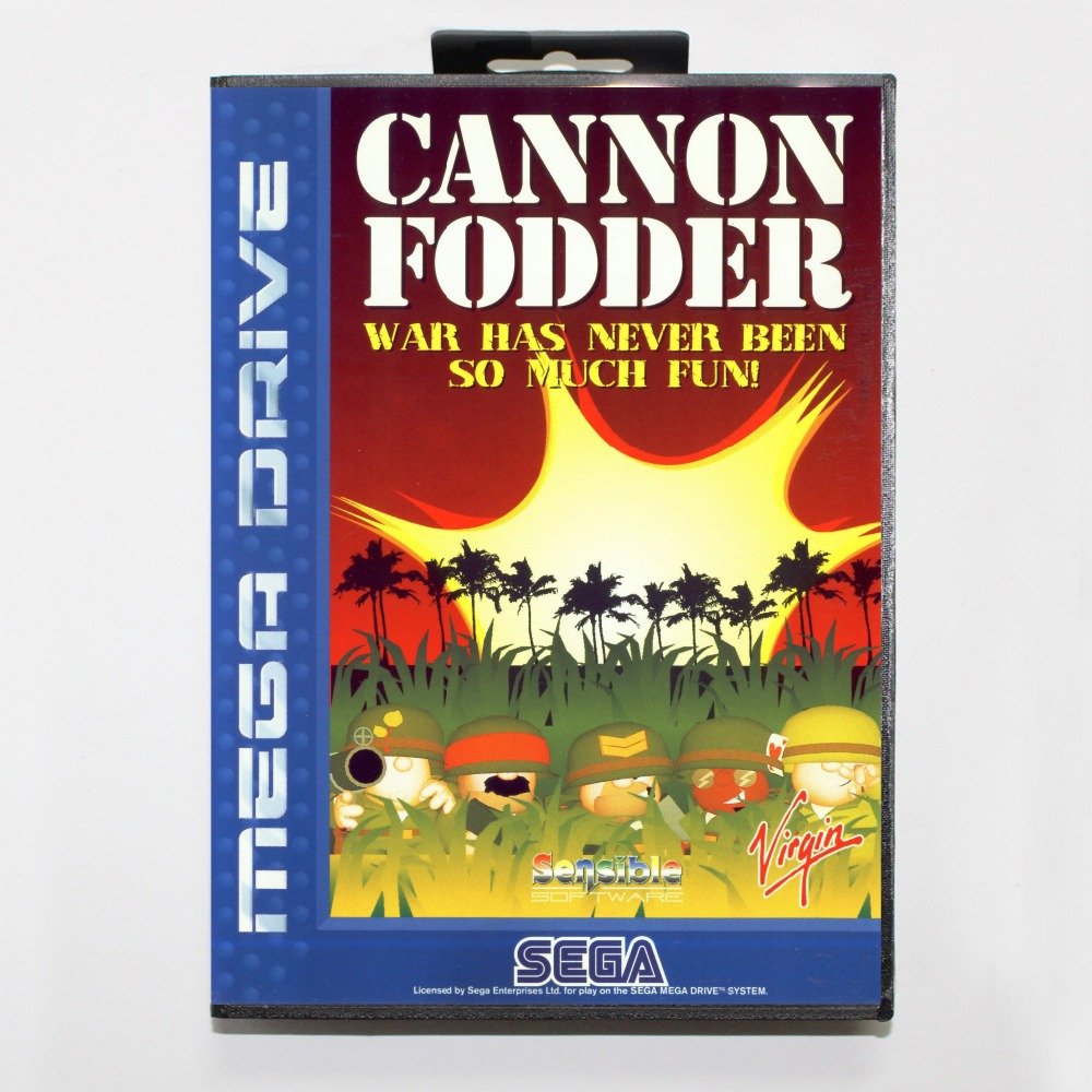 16 bit Sega MD game Cartridge with Retail box - Cannon Fodder game card for Megadrive Genesis system