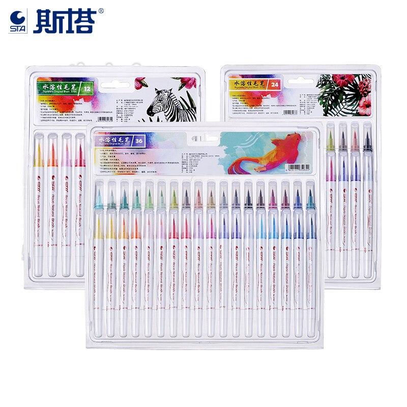 Где купить STA 12/24/36 цветов, набор мягких ручек-кистей, акварельные маркеры, эффект ручки, лучшее для раскрашивания книг, манга, комиксов, каллиграфии