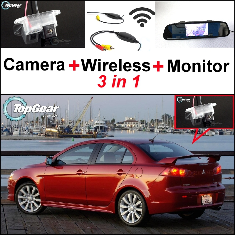 3 in1 Special Rear View Camera + Wireless Receiver + Mirror Monitor Easy Back Up Parking System For Mitsubishi Lancer 2007~2015 wireless pager system 433 92mhz wireless restaurant table buzzer with monitor and watch receiver 3 display 42 call button