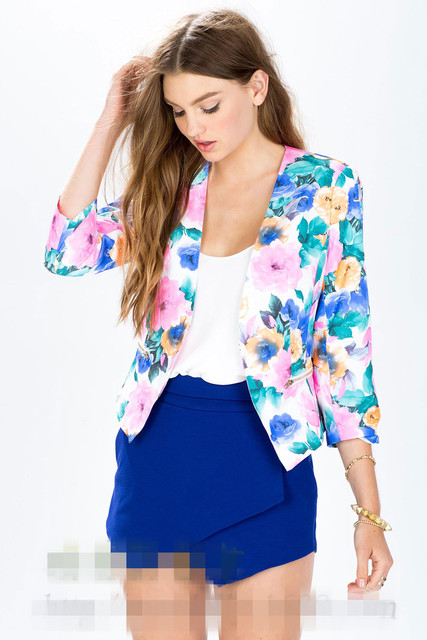2016 Spring and Autumn European and American women's new Mini Slim small jacket printing