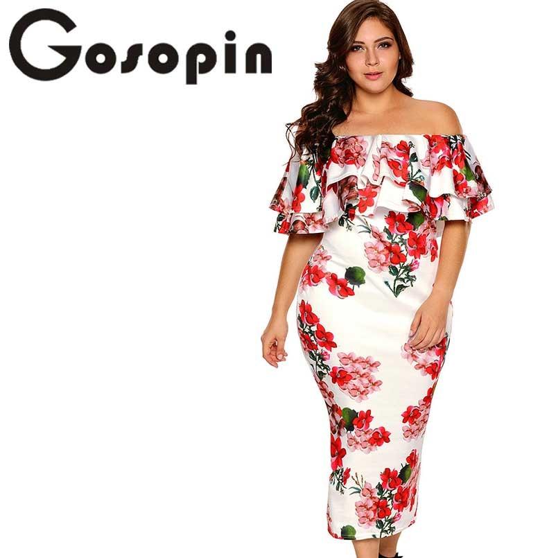 Gosopin قبالة الكتف فساتين الصيف الأزهار كشكش أنيقة حزب bodycon اللباس زائد الحجم xxxl vestidos دي فيستا لونغو LC61611