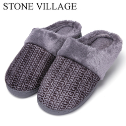 New Arrival Wool Striped print Cotton Men Slippers Warm Plush Winter Fur Slippers Soft Indoor Shoes Flat With Home Slippers